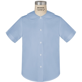 Blue Short Sleeve Peter Pan Collar Blouse