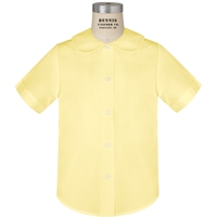 Yellow Traditional Short Sleeve Peter Pan Button Front Blouse