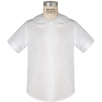 White Traditional Short Sleeve Peter Pan Button Front Blouse