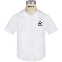 White Short Sleeve Peter Pan Collar Blouse with Primrose logo