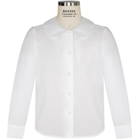 White Long Sleeve Peter Pan Collar Blouse with School Logo