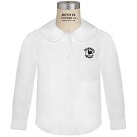 White Long Sleeve Peter Pan Collar Blouse with Primrose logo