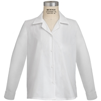 White Long Sleeve Sport Collar Blouse