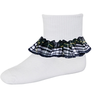 Campbell Plaid Anklet Sock With Ruffle