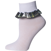 Carden Plaid Anklet Sock With Ruffle