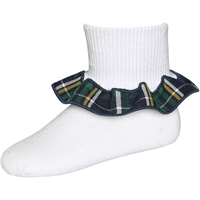 Christopher Plaid Anklet Sock With Ruffle
