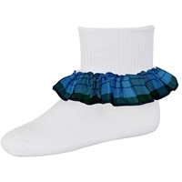 Douglas Plaid Anklet Sock With Ruffle