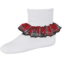 Fairmont Plaid Anklet Sock With Ruffle