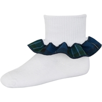 Kirk Plaid Anklet Sock With Ruffle