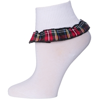 Macbeth Plaid Anklet Sock With Ruffle