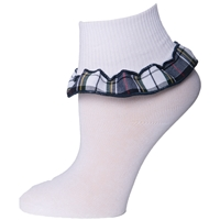 Marymount Plaid Anklet Sock With Ruffle