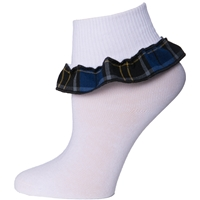 Mayfair Plaid Anklet Sock With Ruffle