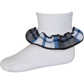 Adams Plaid Anklet Sock With Ruffle