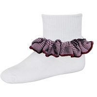 Maroon & White Shadow Anklet Sock With Ruffle