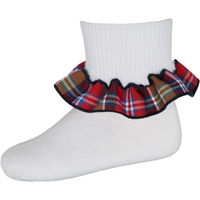 Primrose Plaid Anklet Sock With Ruffle