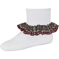 MM Plaid Anklet Sock With Ruffle