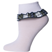 Belmont Plaid Anklet Sock With Ruffle