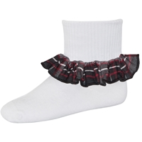 Chandler Plaid Anklet Sock With Ruffle
