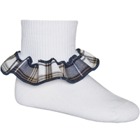 Alexander Plaid Anklet Sock With Ruffle