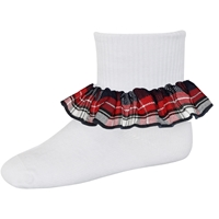 Liberty Plaid Anklet Sock With Ruffle