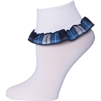 RR Plaid Anklet Sock With Ruffle