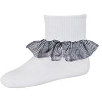 Bradford Plaid Anklet Sock With Ruffle