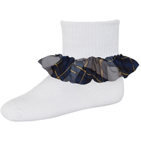 Tyler Plaid Anklet Sock With Ruffle