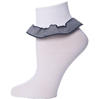 Navy & White Houndstooth Anklet Sock With Ruffle