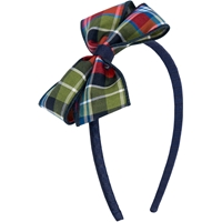 Primrose Plaid Headband With Bow