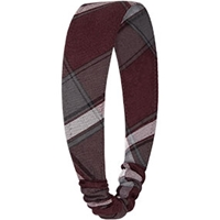 Bordeaux Plaid Elastic Back Headband