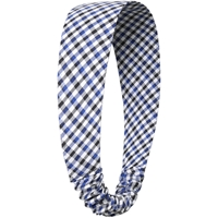 Blue/Black/White Check Elastic Back Headband