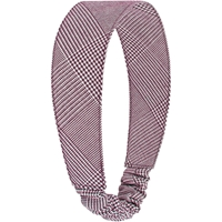 Maroon & White Shadow Plaid Elastic Back Headband