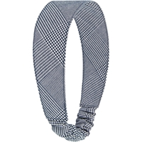 Navy & White Shadow Plaid Elastic Back Headband