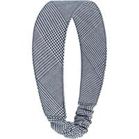 Navy & White Shadow Plaid Elastic Back Headband