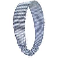 Elastic Back Headband-Navy & White Houndstooth