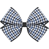 Blue/Black/White Check Hairbow