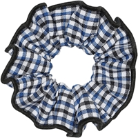 Blue/Black/White Check Hair Scrunchy