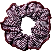 Maroon & White Shadow Plaid Hair Scrunchy