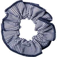 Navy & White Shadow Plaid Hair Scrunchy