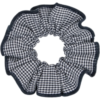 Navy & White Houndstooth Hair Scrunchy