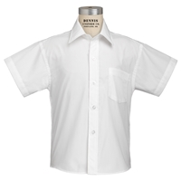 White Short Sleeve Dress Shirt with School Logo