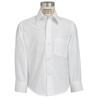 White Long Sleeve Button Shirt with School Logo