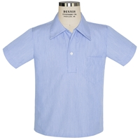 Blue Short Sleeve Pullover Pinfeather Shirt