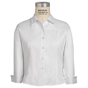 White Three Quarter Sleeve Banded Blouse