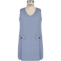 Blue/Black/White Check Box Pleated Shift