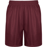 "Maroon Tricot Mesh Shorts 9"" inseam with School Logo"