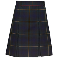 Belair Plaid Stitched Down Kick Pleat Skirt with Side Zipper