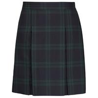 Blackwatch Plaid Stitched Down Kick Pleat Skirt with Side Zipper