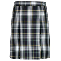 Campbell Plaid Stitched Down Kick Pleat Skirt with Side Zipper