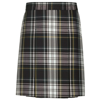 Carden Plaid Center Stitched Down Kick Pleat Skirt with Side Zipper